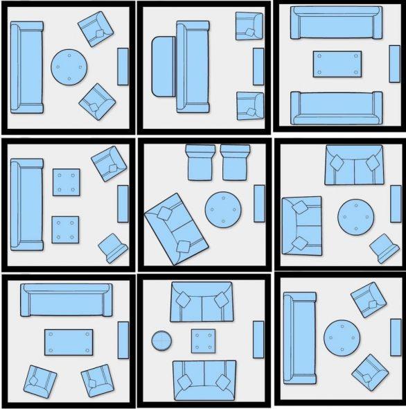 Схема расположения дивана и кресел в интерьере зала