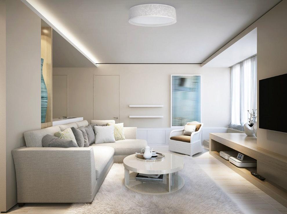Плоский светильник в гостиной современного стиля
