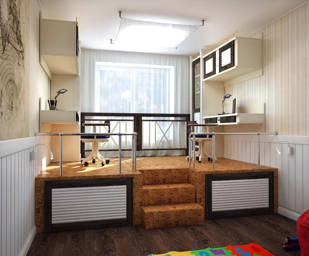 Письменные столы на подиуме в комнате девочек