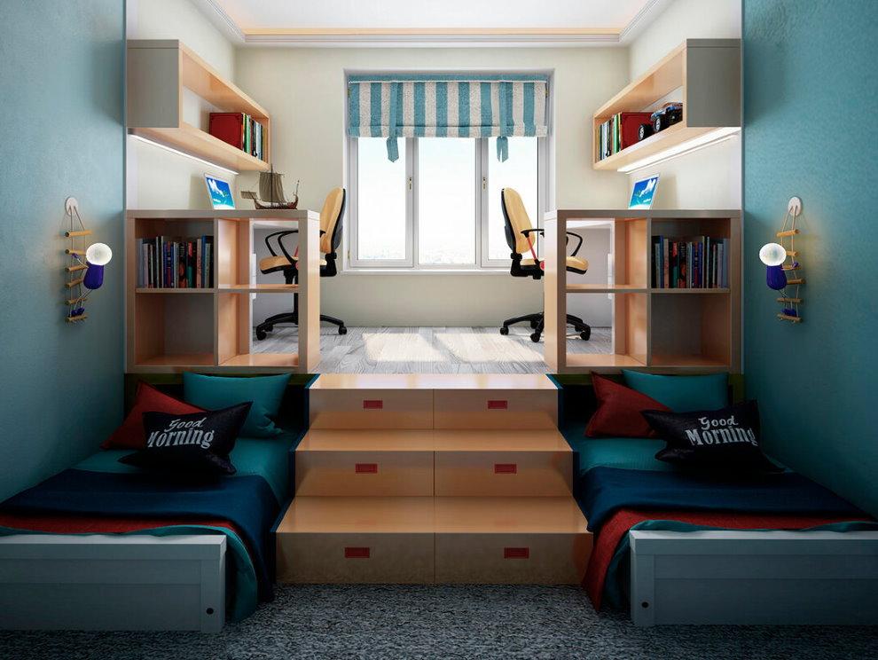 Интерьер небольшой детской с кроватями в подиуме