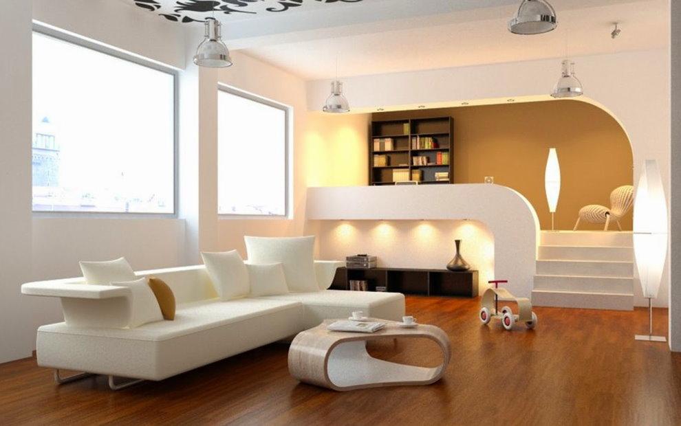 Белая гостиная с высоким подиумом