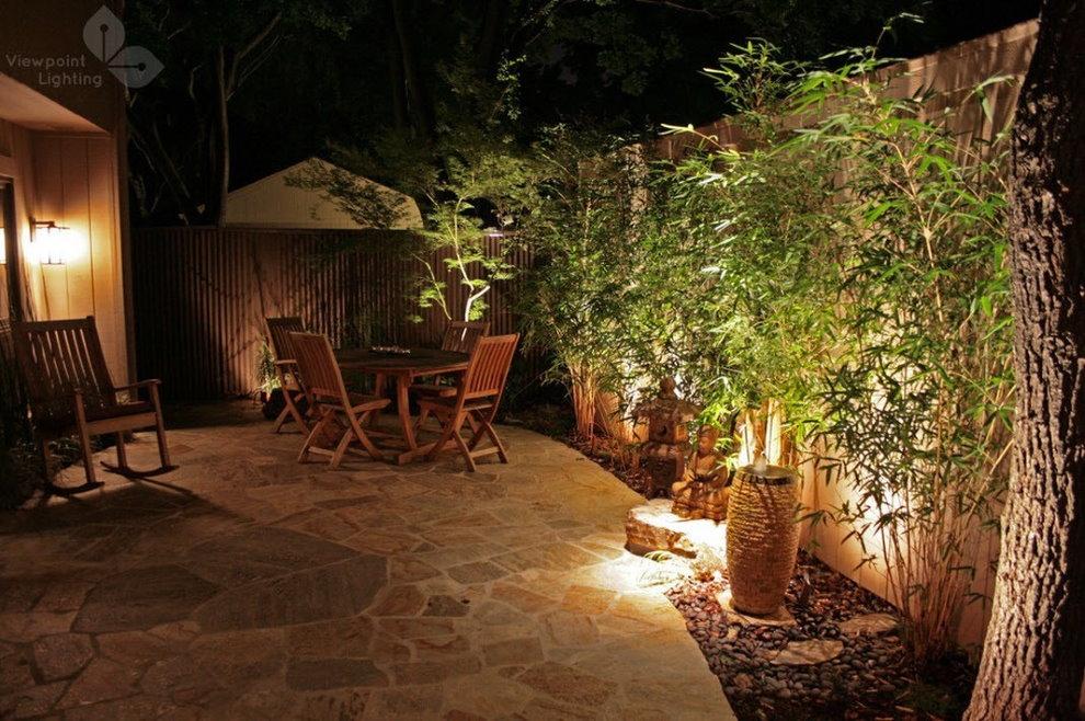 Декоративная подсветка кустарников в ночное время суток
