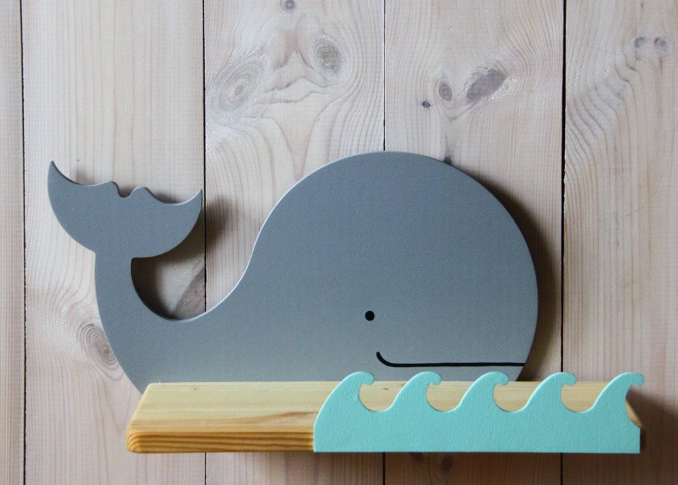 Полочка-кит из фанеры своими руками