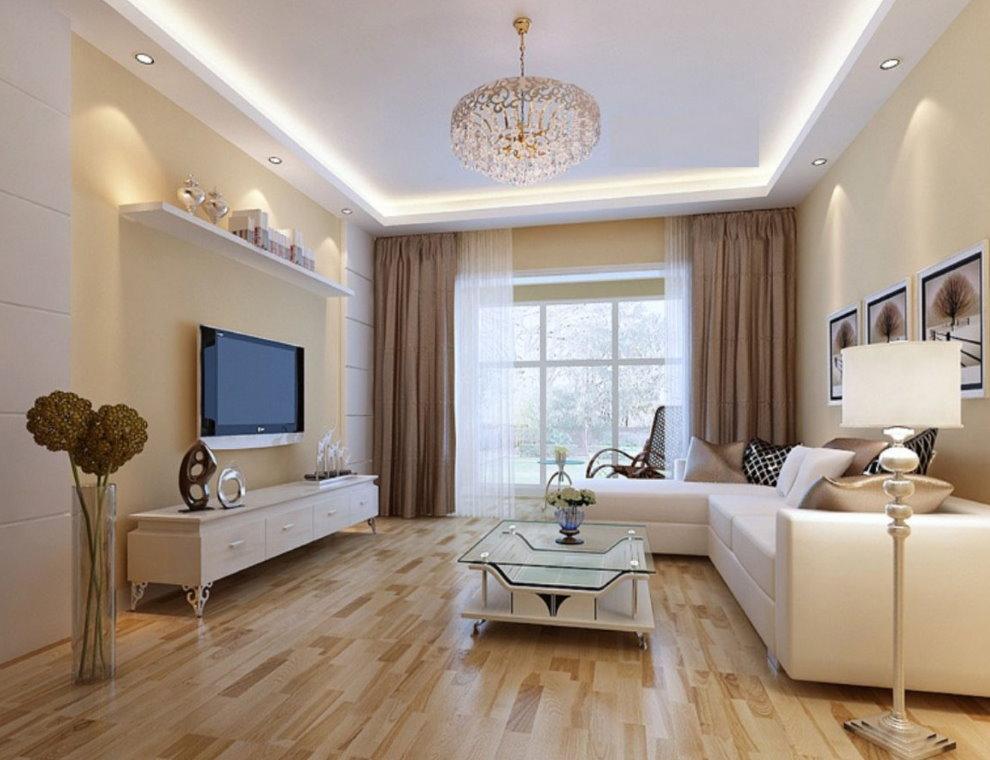 Современная меблировка в гостиной 18 квадратов
