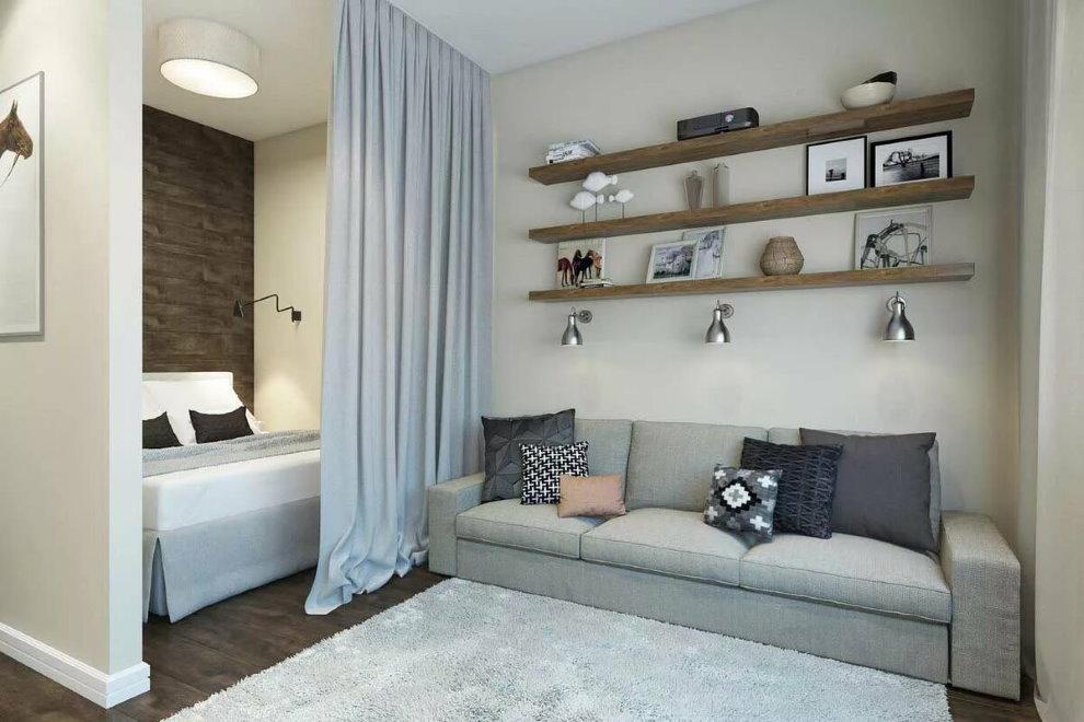 Интерьер комнаты 17 кв метров с диваном и кроватью