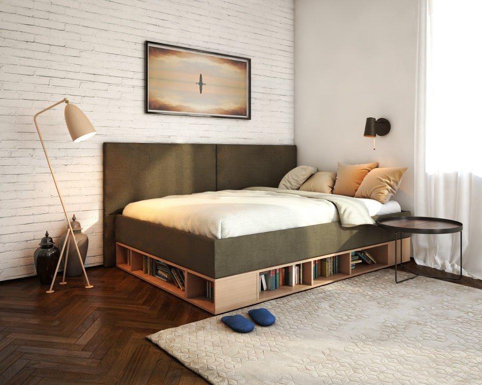 Открытые полки в кровати-подиуме