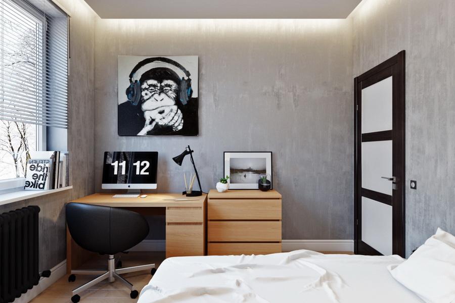 Бумажные обои серого оттенка в комнате мальчика