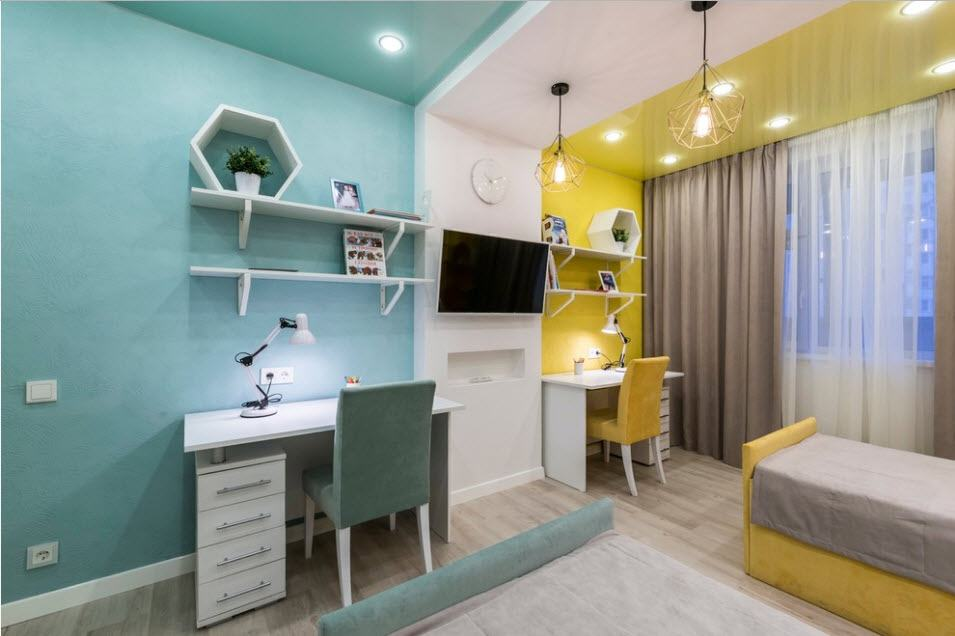 Зонирование светом и цветом комнаты для двоих детей