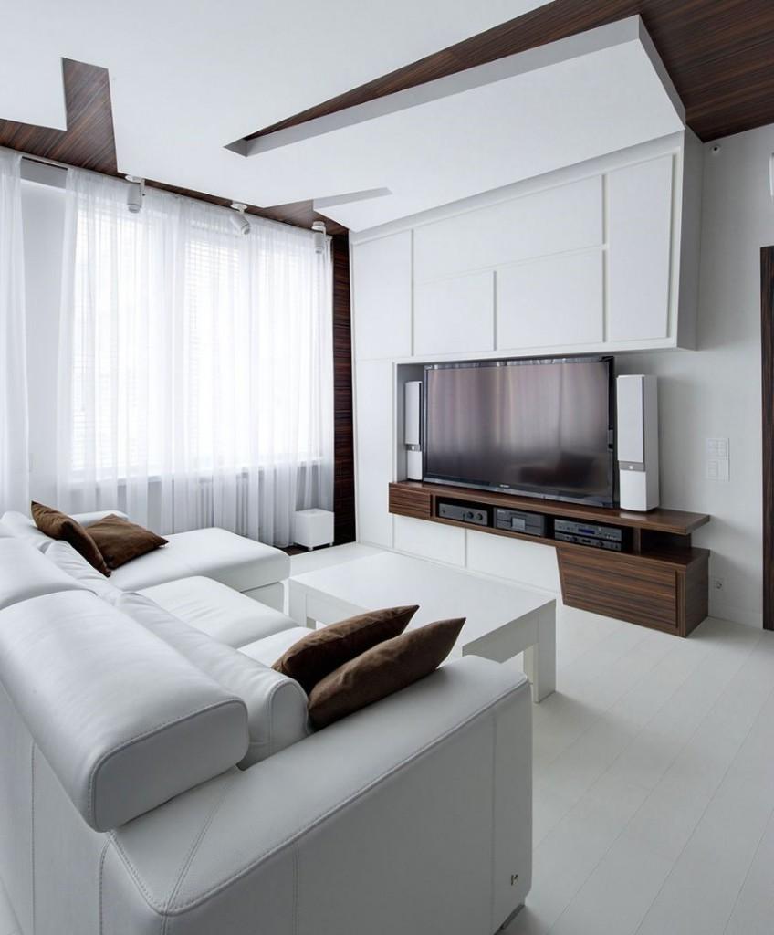 Двухуровневый потолок их гипсокартонна в современной квартире
