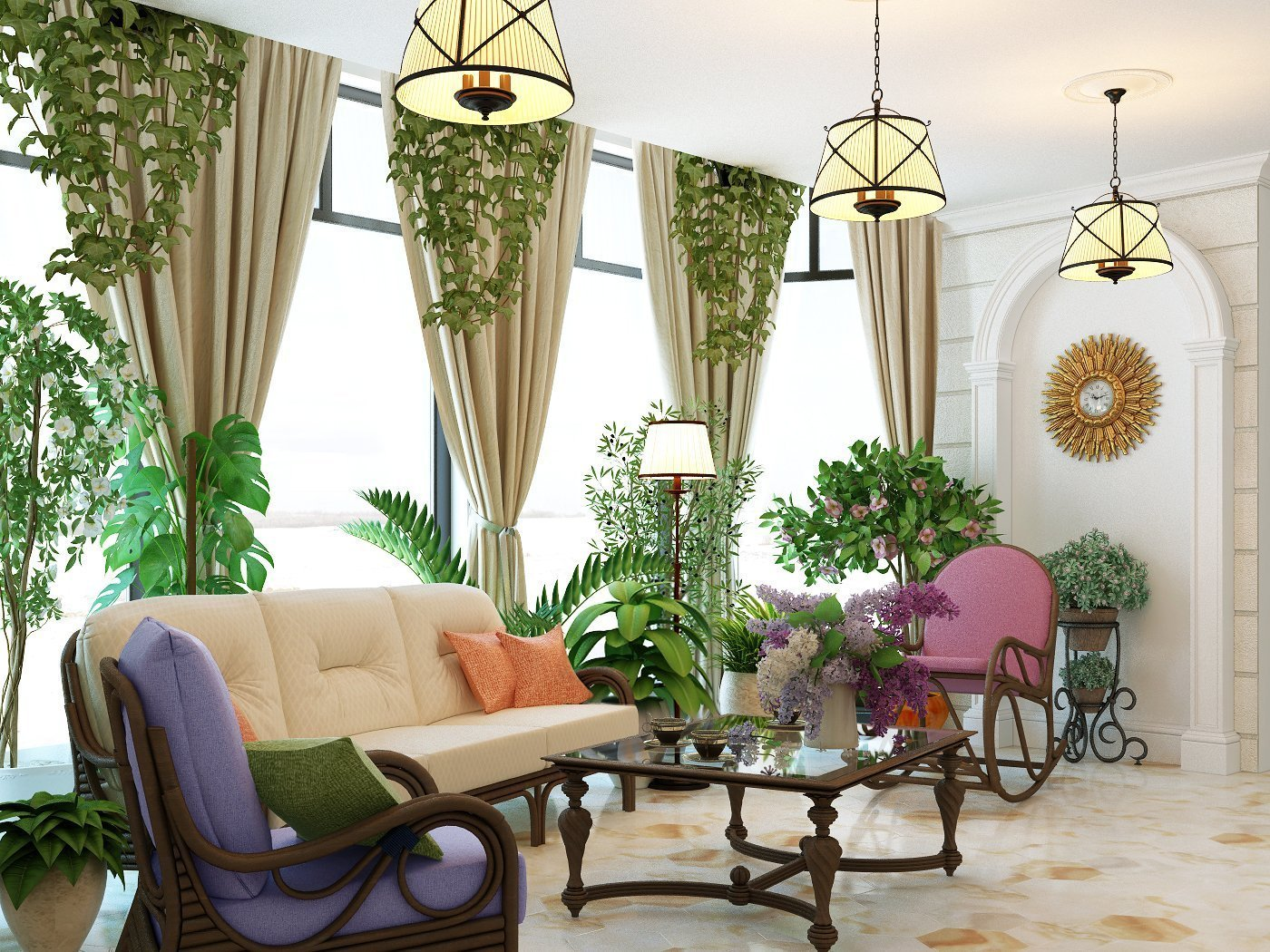 декор гостиной растениями