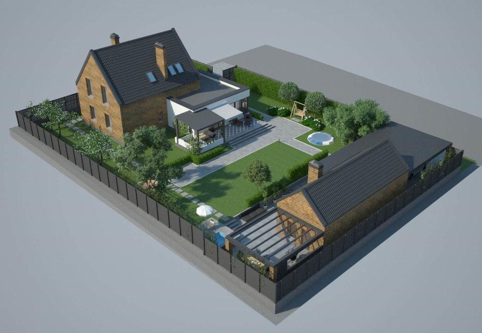 Проект застройки участка площадью в 8 соток с гаражом