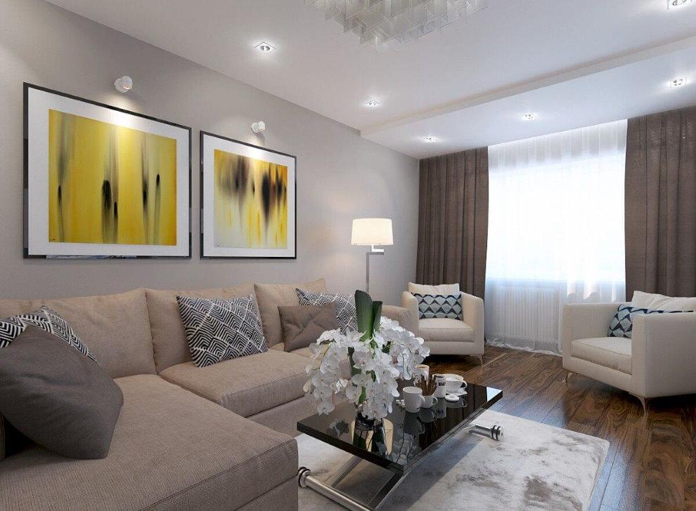 Модульные картины над угловым диваном в гостиной