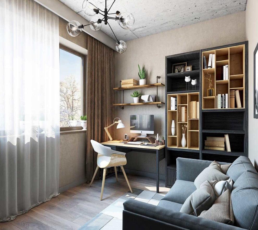Дизайн маленького зала с рабочим столом