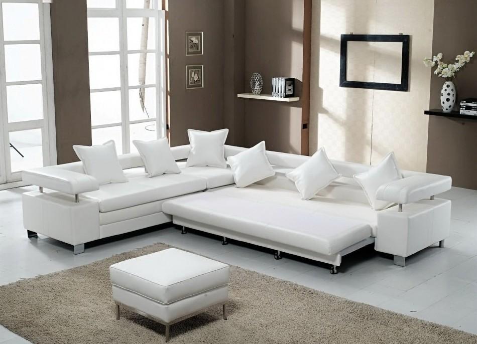 Белый диван раскладного типа для зала в стиле хай-тек