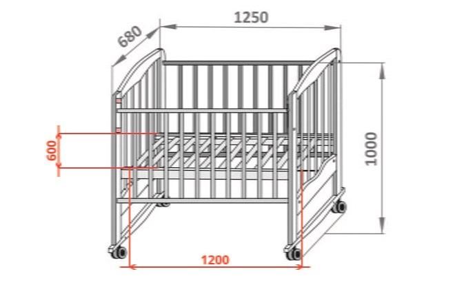 Чертеж детской кроватки для новорожденного