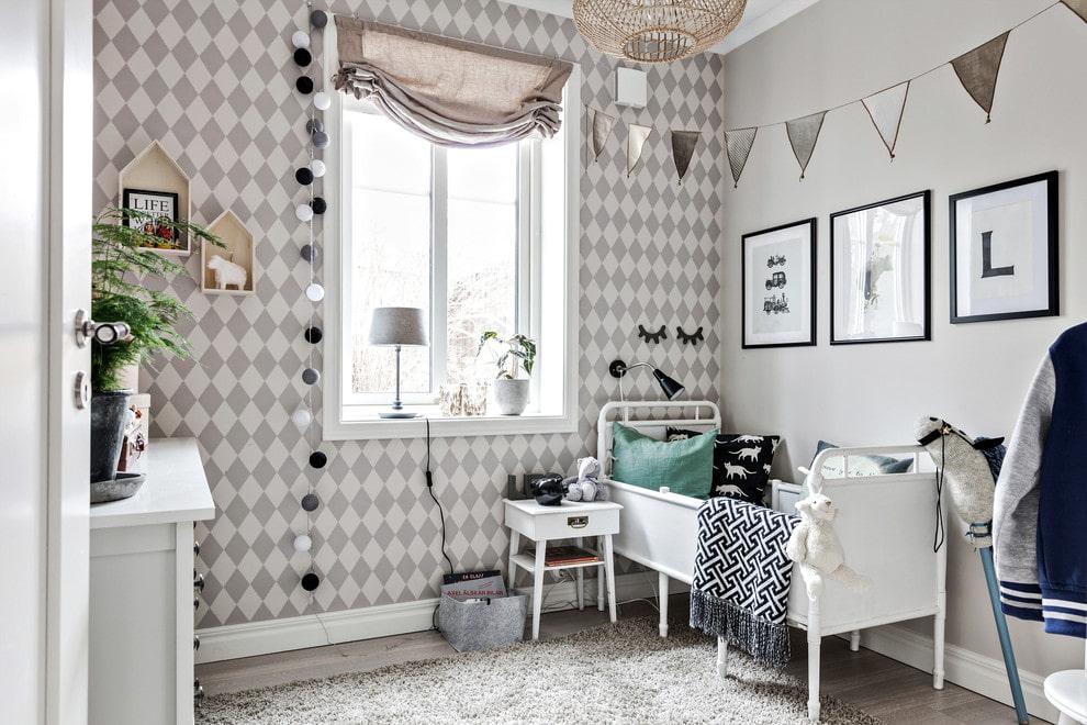 Скандинавский интерьер в детской комнате