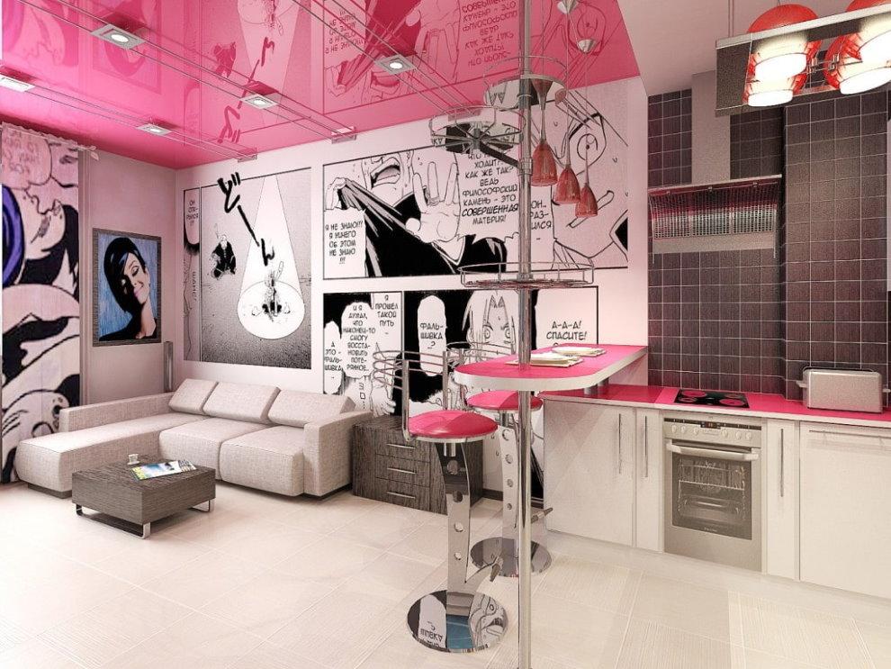 Натяжной потолок в зале яркого стиля поп-арт