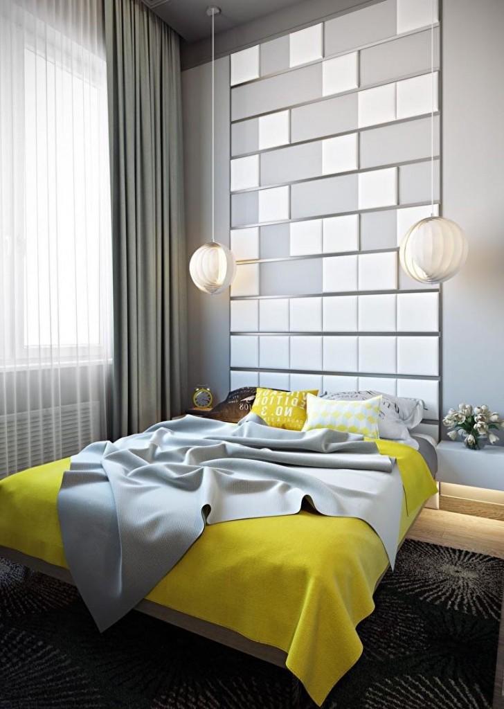 Желтое покрывало в серой спальне стиля хай-тек