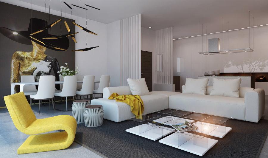 Желтое кресло в гостиной с серым полом