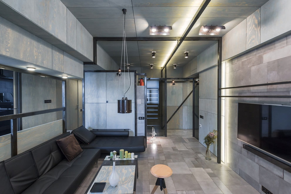 Интерьер небольшой комнаты в стиле лофта