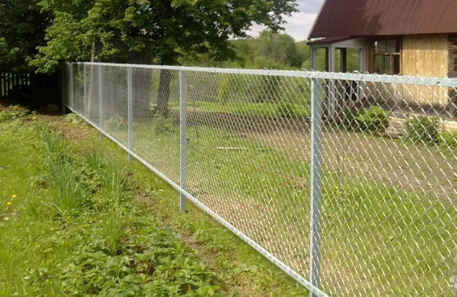Дачный забор из сетки рабицы