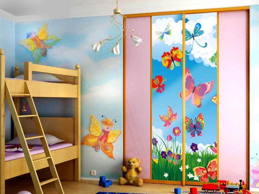 Дизайн детской для девочек со встроенным шкафом
