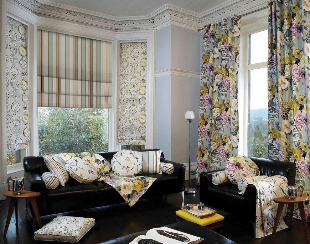 Сочетание штор различного типа в одной комнате