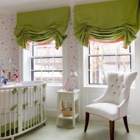 Французские шторы зеленого цвета