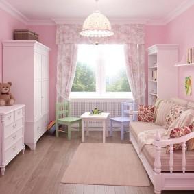 Розовый цвет в интерьере комнаты для девочки