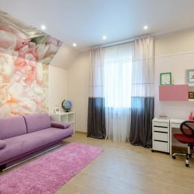 Серо-белые шторы в детской комнате