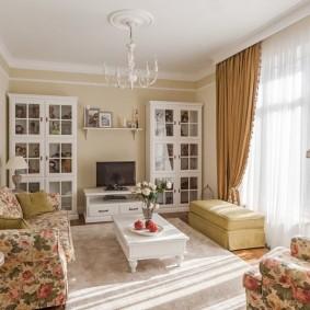 выбор стиля для гостиной кантри
