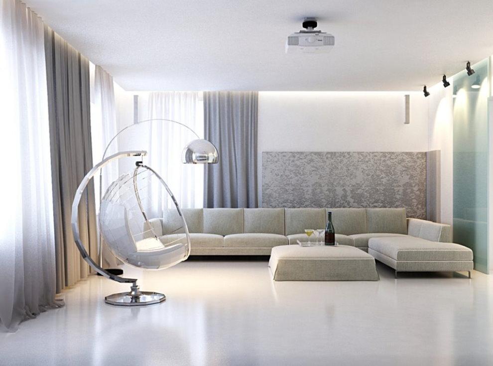 Светло-серые шторы в гостиной минималистического стиля