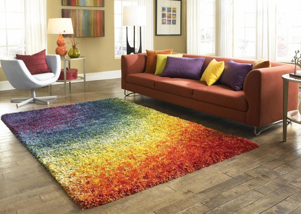 Цветной полипропиленовый коврик с длинным ворсом