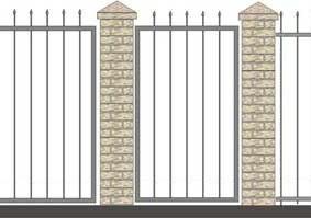 Схема кованного забора с пиками на квадратных стежнях