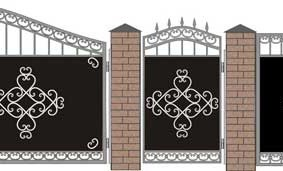 Чертеж металлических ворот с кованными элементами