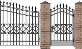 Схема кованных ворот на кирпичных столбах