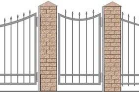 Чертеж секций и ворот кованной ограды