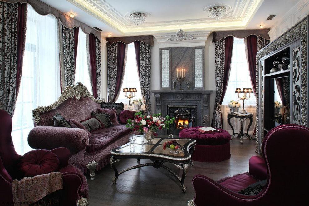 Ламбрекены на окнах гостиной в стиле барокко