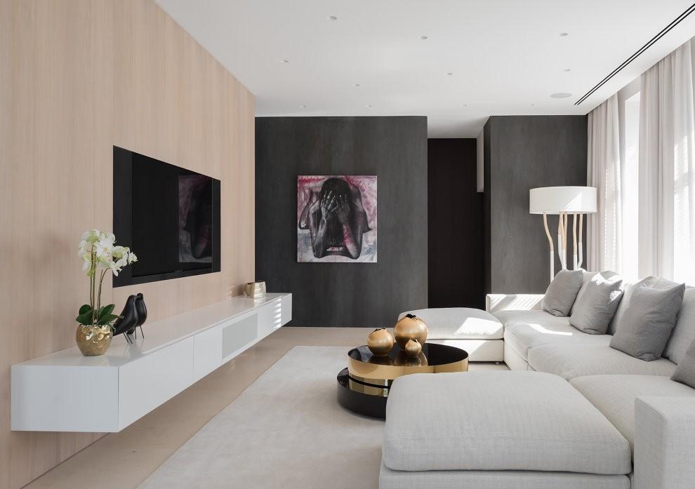 Стены разного цвета в гостиной современного стиля