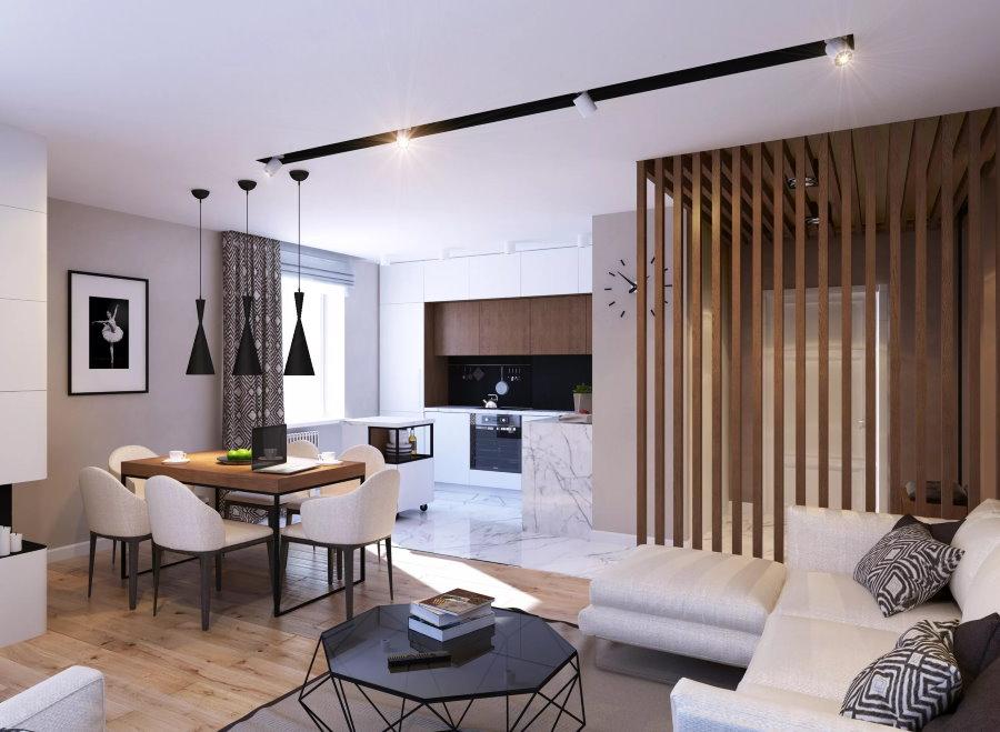 Дизайн кухни-гостиной в современной квартире