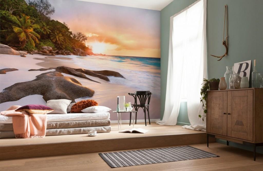 Фотообои в интерьере современной спальни