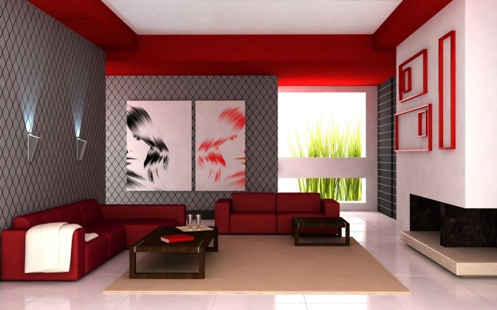 Серые обои в гостиной современного стиля