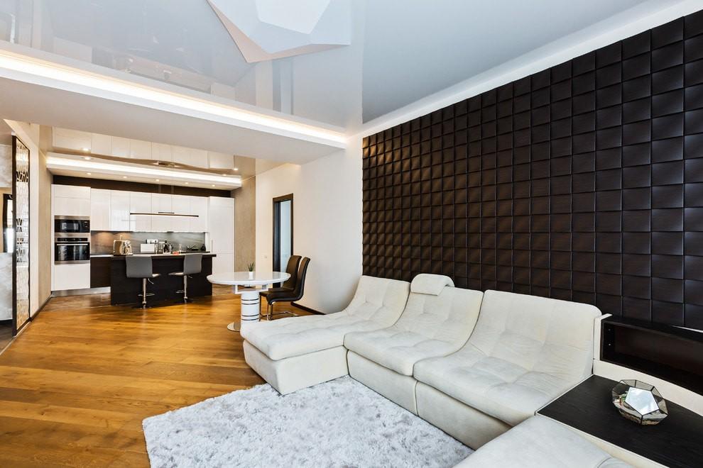 Контрастное оформление интерьера в современном зале