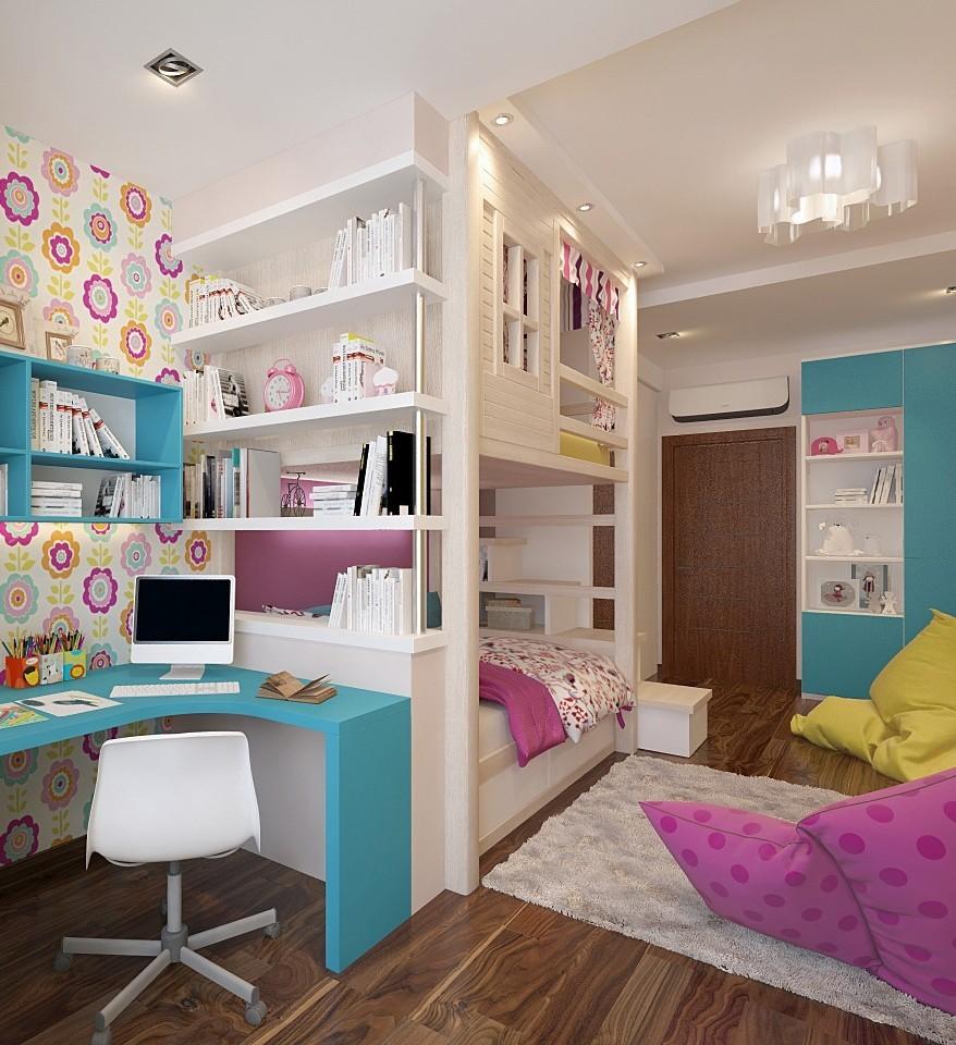 Стеллажи в комнате с двухъярусной кроватью