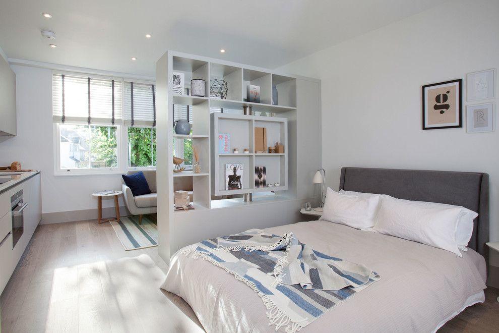 Белый стеллаж в однокомнатной квартире