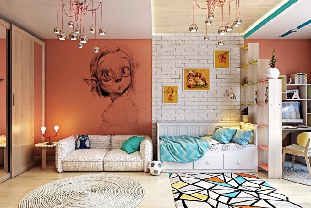 Оригинальный декор стен в комнате мальчика-подростка