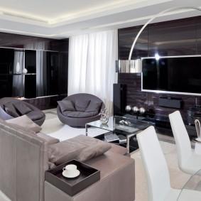 гостиная в стиле хай тек