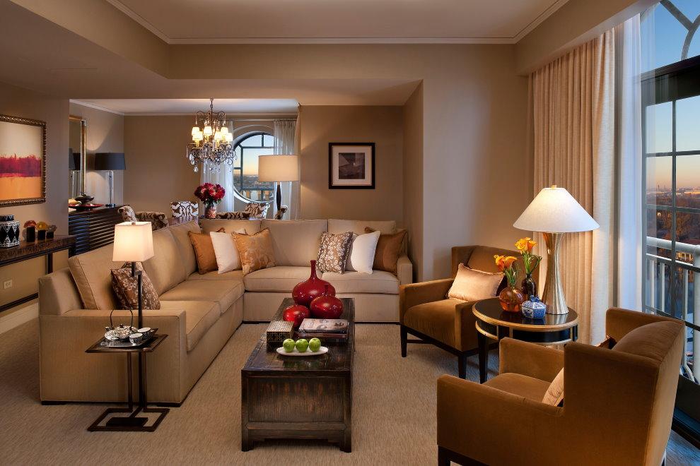Осветительные приборы в современной гостиной