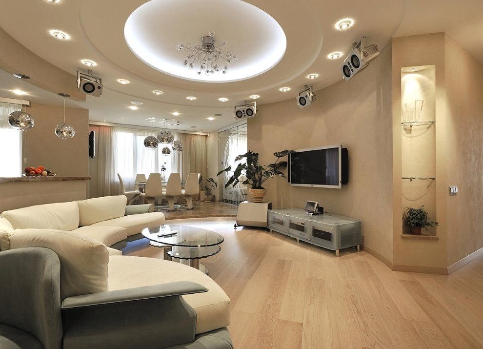 Реализация освещения зала с двухуровневым потолком