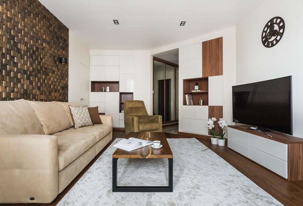 Отделка стены за диваном деревянной плиткой